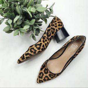 Franco Sarto Callan calf hair leopard block heel